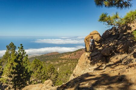 Stony path at upland surrounded by pine trees at sunny day. Clear lue sky and some clouds along the horizon line. Rocky tracking road in dry mountain area with needle leaf woods. Canary Islands travel. Trip over Tenerife, Corona Forestal natural park Stock Photo