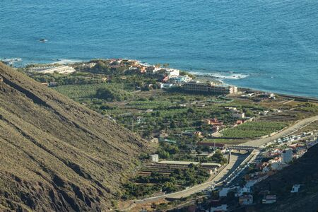 Aerial view of Valle Gran Rey, also known as the valley of the great king, in the Island of La Gomera. Has become a popular holiday destination on Canary Islands, Spain.