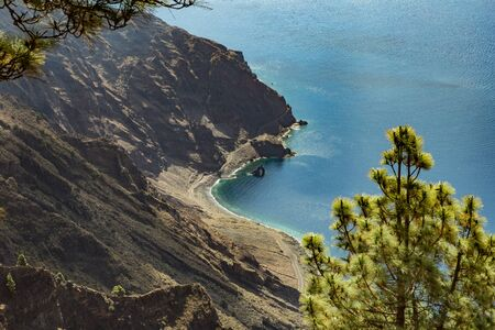 Mirador de Las Playas located in pine tree forest on El Hierro island. Spectacular views from the point above the clouds. Canary islands, Spain