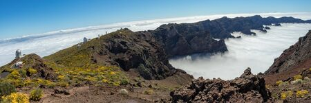 Super wide panorama of Roque de los Muchachos Observatory located in the island of La Palma in the Canary Islands. Observatory at Caldera De Taburiente. Science and technology