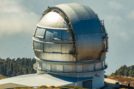 La Palma, Spain - 19 August 2018: Roque de los Muchachos Observatory located in the Canary Islands. Observatory at Caldera De Taburiente. Science and technology travel card.