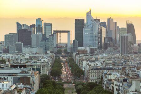 Paris, France - June 24, 2016: Sunset view of Paris from the top of Triumphal Arch de l Etoile.