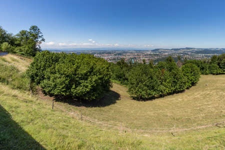 Aerial view of the swiss Capital from the top of Gurten Mountain Park. Pleasant sunny summer day. Reklamní fotografie