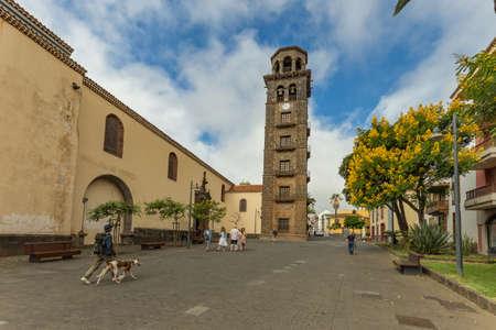 La Laguna, Tenerife, Spain - October 14, 2019: Bell tower and observation deck. The Iglesia de Concepcion of San Cristobal de La Laguna. Squares of La Concepcion and Doctor Olivera. Redakční