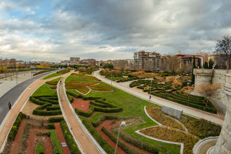 MADRID, SPAIN - DECEMBER 13, 2018: The Arganzuela bridge over Manzanares River downtown Madrid, Spain. It is a futuristic structure built in 2011. Redakční