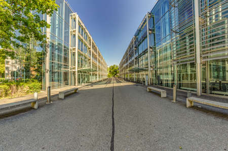Bern, Switzerland - July 30, 2019: A modern metal concrete and glass mounted building in the Swiss Capital. Panoramic. View at sunny summer day. Redakční