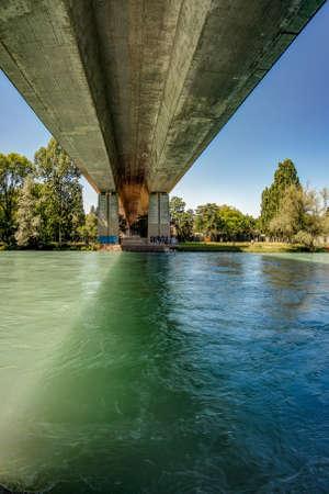 Bern, Switzerland - July 30, 2019: Concrete brige over the Aare river. Bern Switzerland. Vertical.