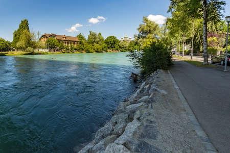 Bern, Switzerland - July 30, 2019: Concrete brige over the Aare river. Bern Switzerland. Super wide angle panorama.