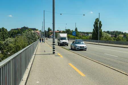 Bern, Switzerland - July 30, 2019: Panoramic view at sunny summer day.
