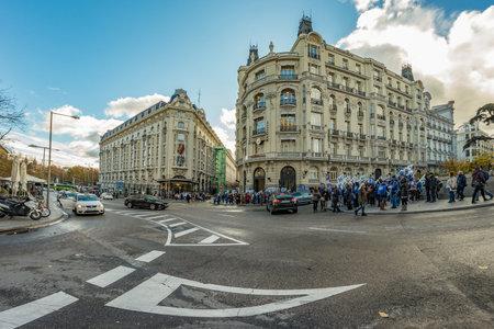 MADRID, SPAIN - DECEMBER 13, 2018: Pickets in front of Congreso De Los Diputados in the Palace of the Parliament, or Plaza de las Cortes. Redakční