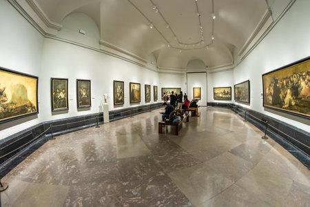 MADRID, SPAIN - DECEMBER 13, 2018: Visitors inside the Prado Museum a major cultural landmark in Madrid. Redakční