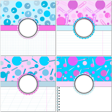Vector set of four cards to a school (office) theme. Set of backgrounds with school supplies and paper.