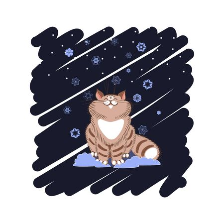 tabby: Illustration on the theme of winter. Fluffy tabby cat sitting under falling snow. Background of doodles.
