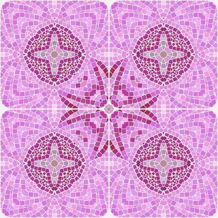 Mosaikfliesen in rosa Ton. Vier Fliesen, die Vektormuster bilden