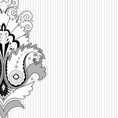 Abstract background with stripes and paisley floral elements. Illustration in black, white and gray. Ilustração