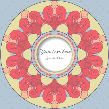 reminiscent: Card with round frame. Filigree lace pattern reminiscent hearts.