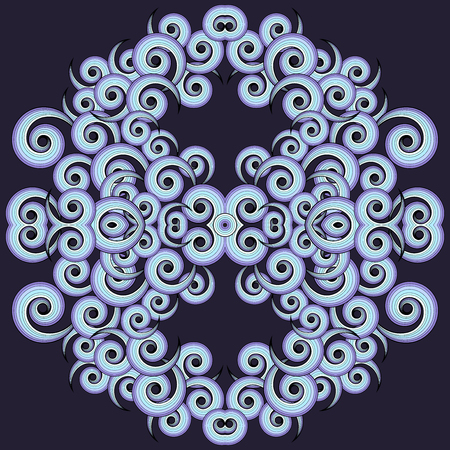 Abstract vector symmetric background with swirls. Colors are easily editable.