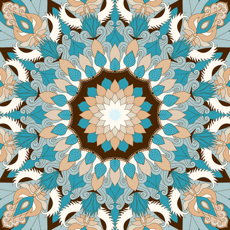 Round vector  pattern. Floral damask ornament.  Easy to change colors.