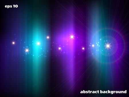 Abstract vector background. Northern lights and stars. Cool colors.