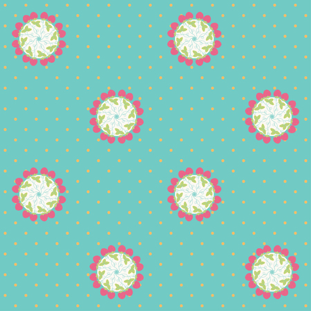 calico: Vector seamless background. Strawberries and polka dots. Calico pattern. Illustration