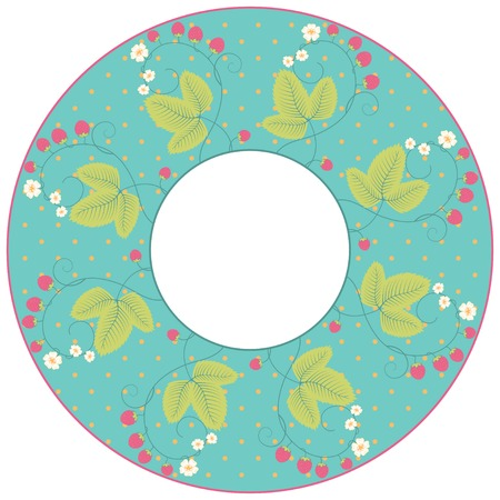 calico: Vector round frame. Strawberry plants with berries and flowers. Polka dot.