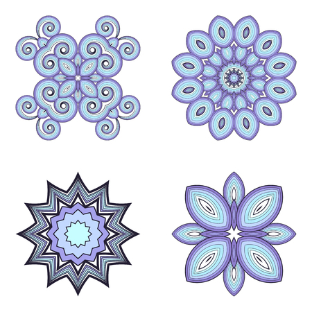 calico: Vector set of four abstract elements. Resemble flowers or stars.