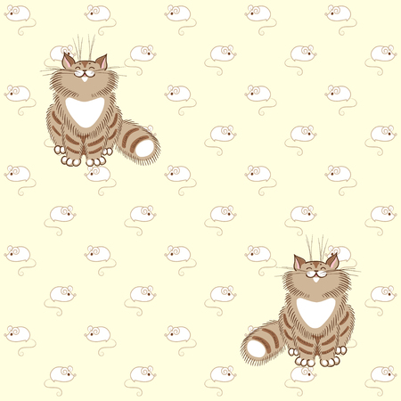 tabby: Seamless vector background. Fluffy tabby cats and white mice. Illustration