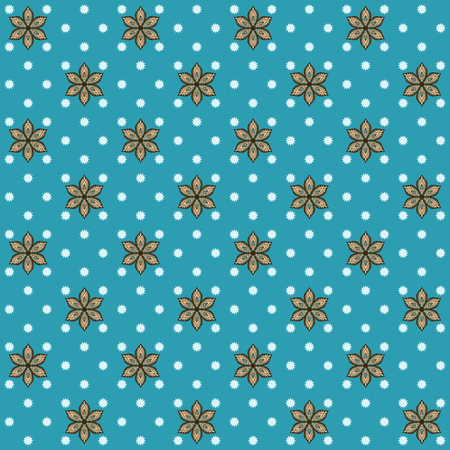 calico: Seamless vector background. Vintage floral calico pattern. Easily edit the colors. This ornament is part of collection oriental patterns.