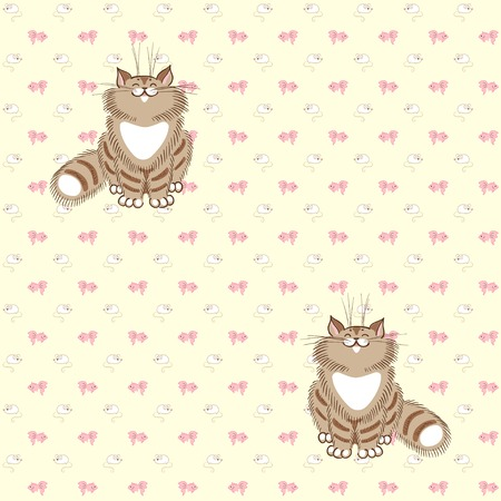 tabby: Seamless vector background. Fluffy tabby cats, white mice and pink fish.