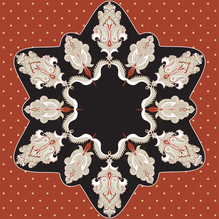 Round lace pattern with damask floral elements. Color easily changed. Illustration