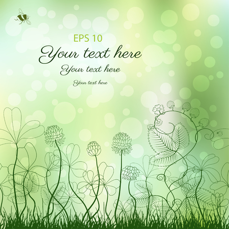 Abstract vector background. Clover and strawberry plants. Bumble bee and ladybug. Place for your text.