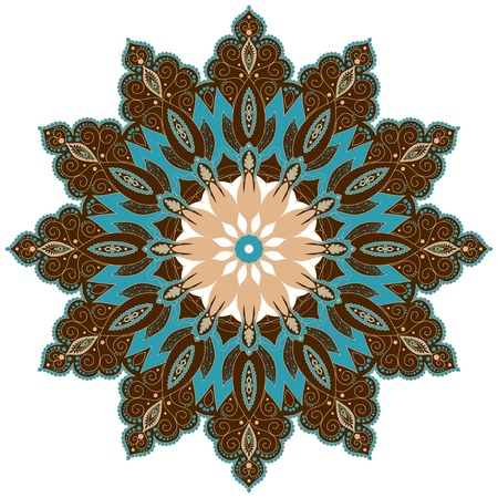 Abstract round lace pattern. Vintage damask ornament. Colors are easily editable.