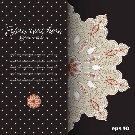 Vector abstract card. Vintage damask pattern. Colors are easily editable. Place for your text.