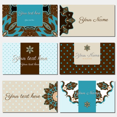 complied: Set of six horizontal business cards. Oriental pattern.  Complied with the standard sizes. Illustration