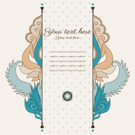Vector card. Vintage damask pattern. Place for your text. Easy to change colors