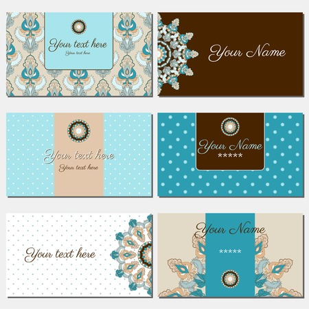 complied: Set of six horizontal business cards. Oriental pattern. Complied with the standard sizes.