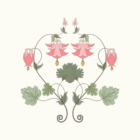 Element vector pattern in modern style. Aquilegia plants contain  flowers, buds and leaves. Illustration