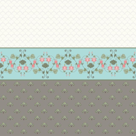 Abstract vector background. Two simple background and border. Vintage floral pattern in modern style. Aquilegia plants contain  flowers, buds and leaves. Illustration