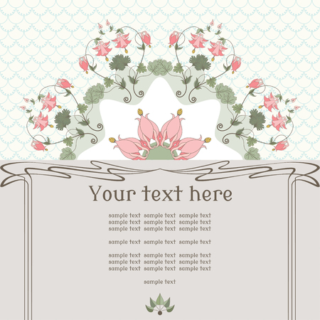 pink columbine: Vector card. Vintage round pattern in modern style. Simple background. Aquilegia plants contain  flowers, buds and leaves.  Place for your text. Perfect for invitations, announcement or greetings.