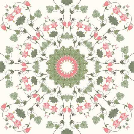 Seamless vector background. Vintage floral pattern. Aquilegia plants contain  flowers, buds and leaves. Pink and green.
