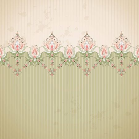 Vector background. Old paper, strips and vintage damask border.  Ample opportunities for use.