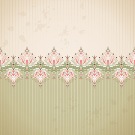 Vector  background. Old paper, strips and vintage damask border.  Ample opportunities for use. Illustration