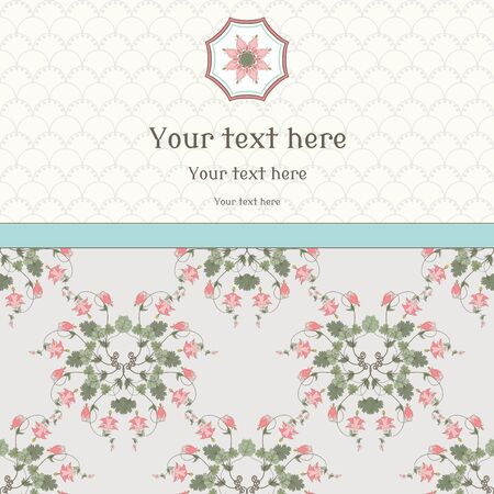 Vector card. Vintage pattern in modern style. Aquilegia plants contain flowers, buds and leaves. Place for your text. Perfect for invitations, announcement or greetings. Illustration