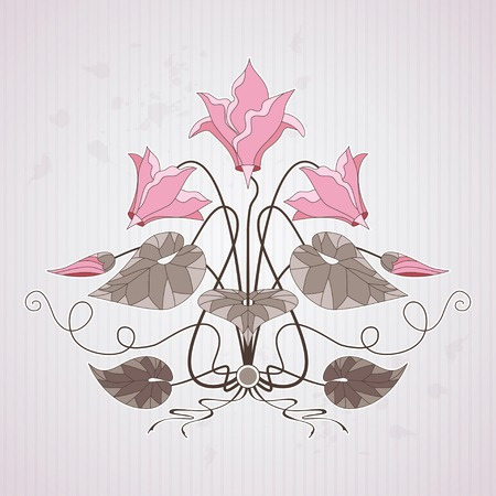 Element vector pattern in modern style on vintage background with stripes and blotches.  Decorative ornament of cyclamen plants. Make your pattern. Illustration