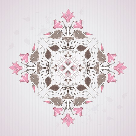 Element vector pattern in modern style on vintage background with stripes and blotches.  Illustration contains cyclamen plants and insect cicada. Make your pattern.