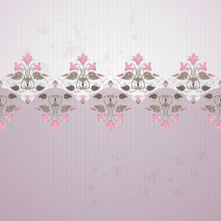 Old paper, strips, blotches and vintage border in modern style vector background with decorative ornament of cyclamen plants and cicadas.