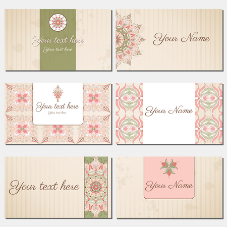 complied: Set of six horizontal business cards. Oriental pattern and old paper, strips and stains.. Complied with the standard sizes.