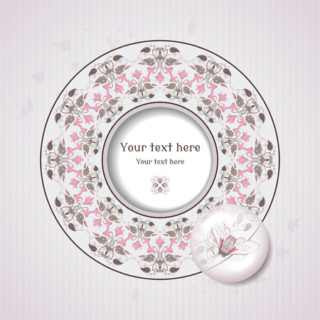 Cool Vector card. Vintage round frame in modern style with cyclamen plants. Decoration in the form of a lens with a cicada inside. Old paper, strips and stains. Place for your text. Illustration