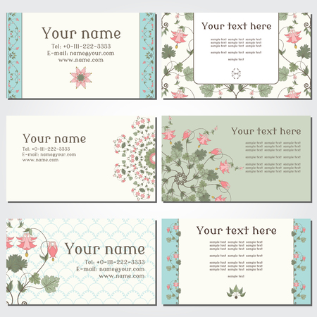 pink columbine: Set of six horizontal business cards. Vintage pattern in modern style with aquilegia plants. Complied with the standard sizes.