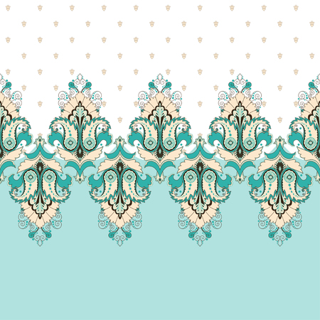 Simple vector background and border. Oriental floral pattern and decorative items. Ample opportunities for use. Easily edit the colors. Illustration